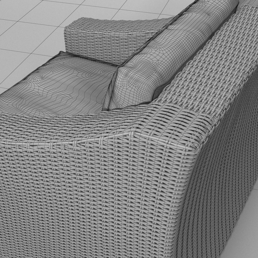 Sillón de ratán royalty-free modelo 3d - Preview no. 4