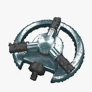 Irrigatiesysteem met water aan 3d model