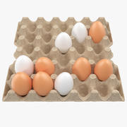 Carton 30 Cells Cardboard with Eggs 3d model