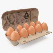 Eggs in Open Carton Package 3d model
