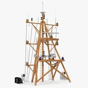 Ship Mast with Radar Scanner 3d model
