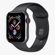 Apple Watch 4 Series Космический серый алюминиевый корпус с черной спортивной лентой 5 3d model