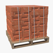 Red Bricks Stacked On Wooden Pallet 3d model