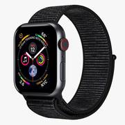 Apple Watch 4 Series Космический Серый Алюминиевый Корпус с Черной Спортивной Петлей 5 3d model