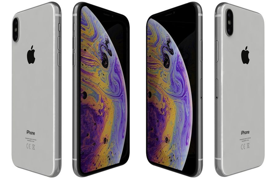 Apple iPhone XS Vit royalty-free 3d model - Preview no. 7