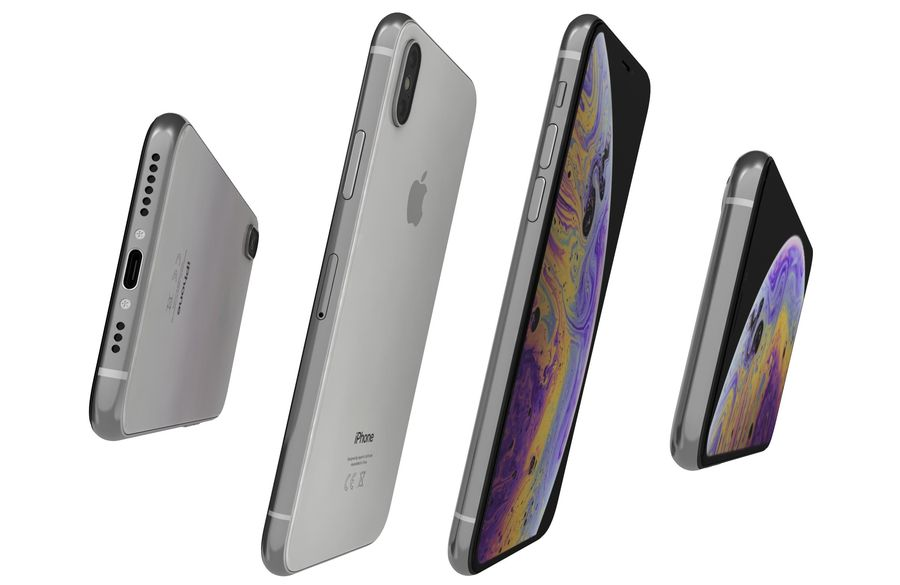 Apple iPhone XS Vit royalty-free 3d model - Preview no. 14