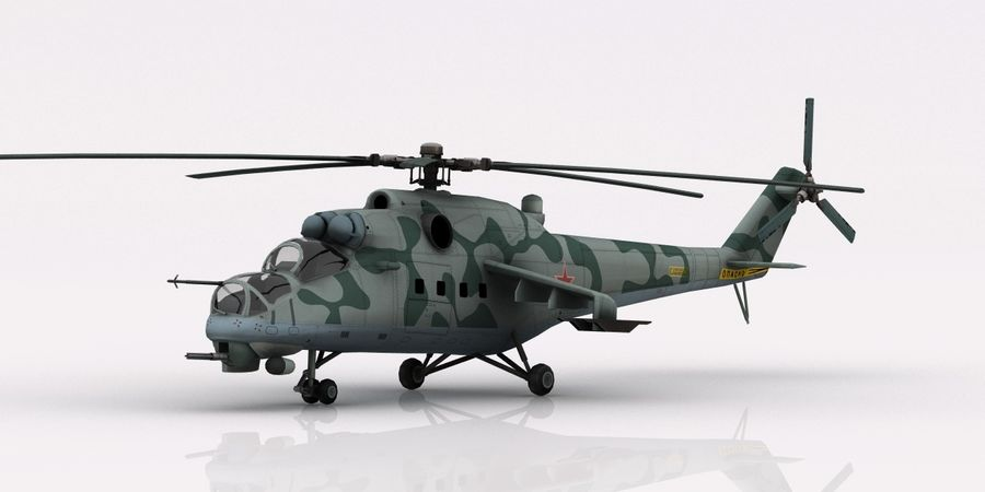 Mil Mi-24 Russia Camo royalty-free 3d model - Preview no. 1