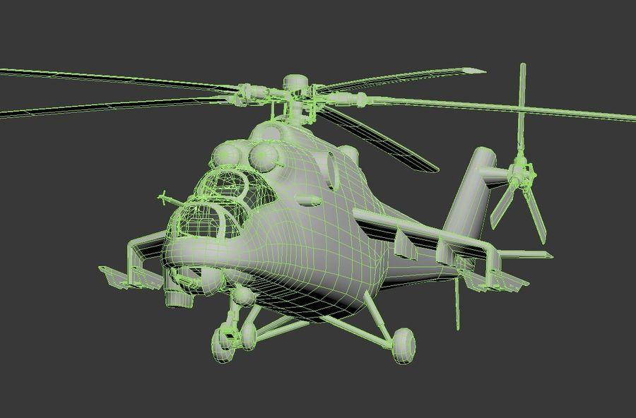 Mil Mi-24 Russia Camo royalty-free 3d model - Preview no. 9