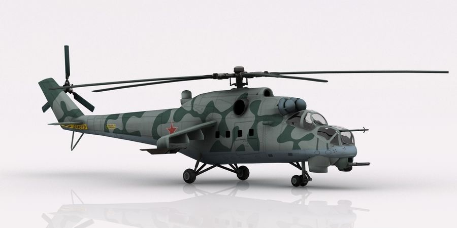 Mil Mi-24 Russia Camo royalty-free 3d model - Preview no. 4