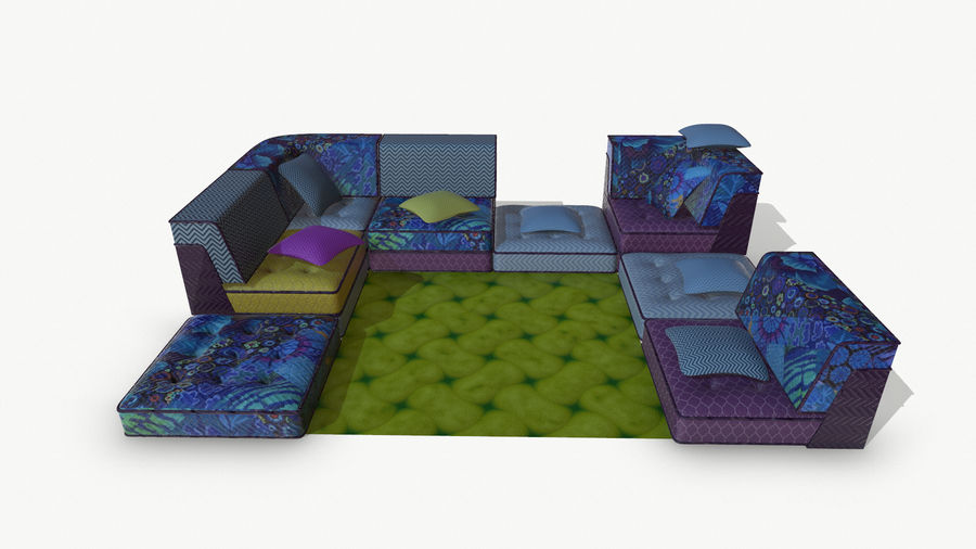 big bong sofa royalty-free 3d model - Preview no. 3