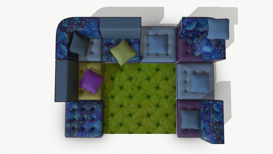 big bong sofa royalty-free 3d model - Preview no. 11