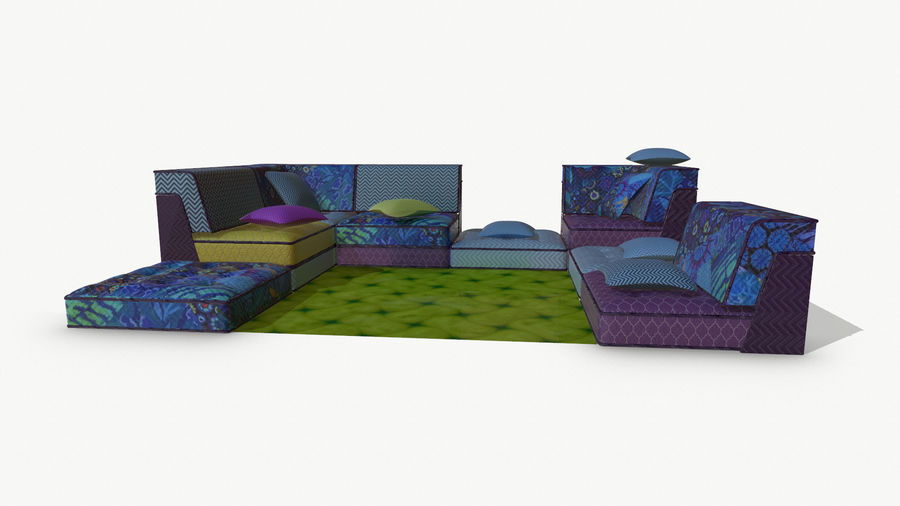 big bong sofa royalty-free 3d model - Preview no. 9