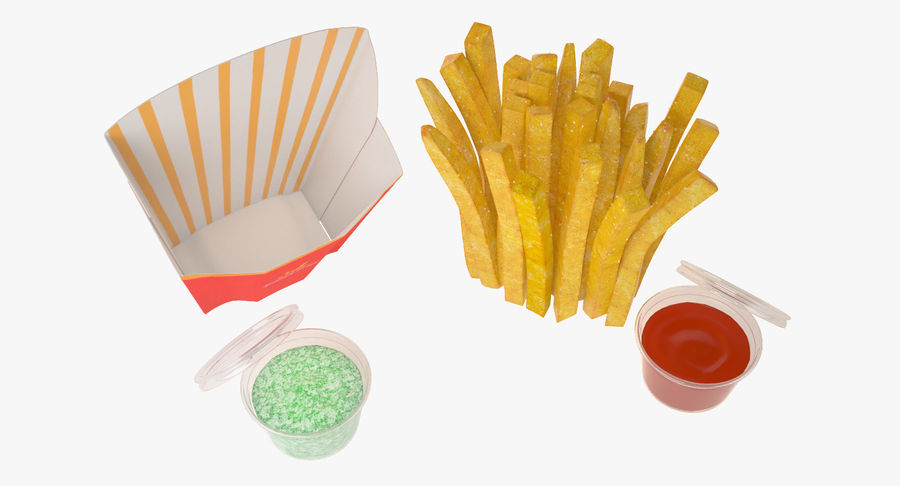Pommes frites royalty-free 3d model - Preview no. 8
