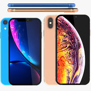 Iphone XR Blue and Iphone XS Gold 3d model