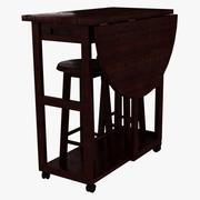 ベンチ付き折りたたみ木製リビングルームテーブル 3d model