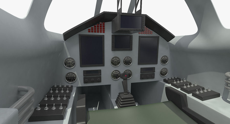 Angriffsflugzeug Cockpit 3D-Modell royalty-free 3d model - Preview no. 7