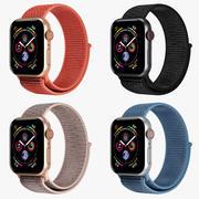 Apple Watch 4-serie aluminium behuizing in vier kleuren met sportlus 3d model