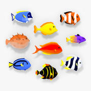 Riff-Fische LowPoly Sammlung 3d model