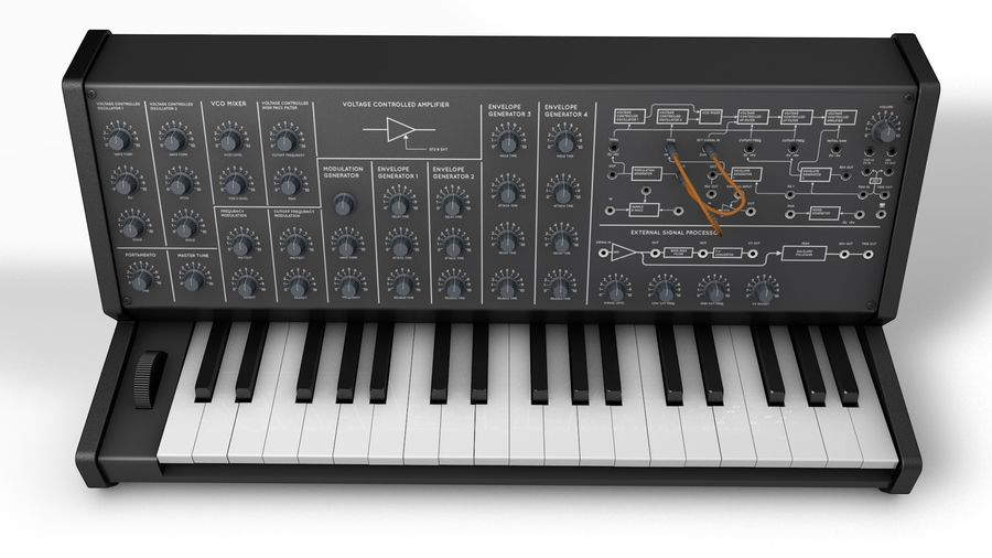 Mini Synthesizer royalty-free 3d model - Preview no. 6