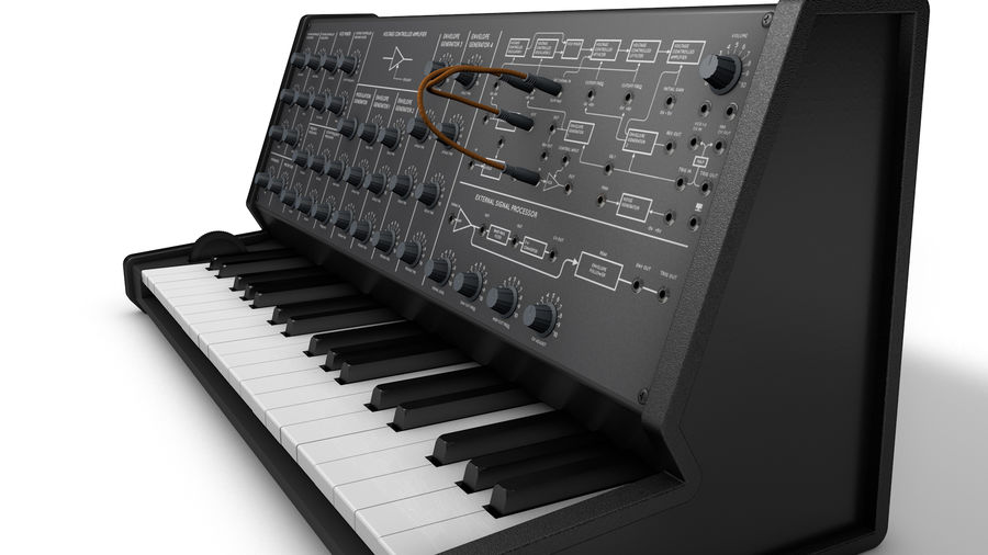 Mini Synthesizer royalty-free 3d model - Preview no. 2