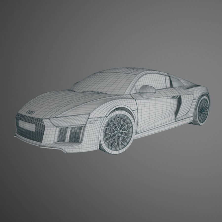 R8 Coupe 2018 royalty-free 3d model - Preview no. 8