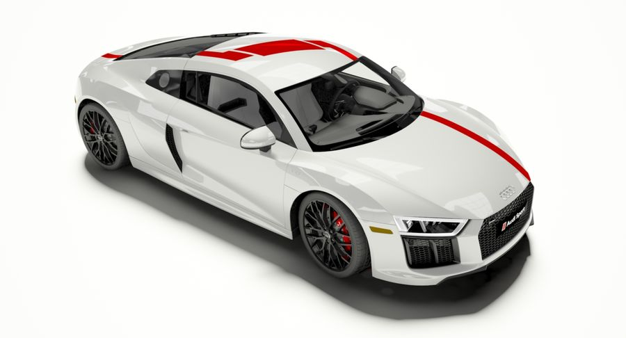 R8 Coupe 2018 royalty-free 3d model - Preview no. 6