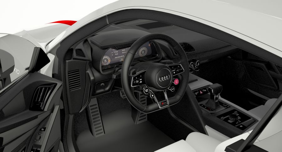 R8 Coupe 2018 royalty-free 3d model - Preview no. 7