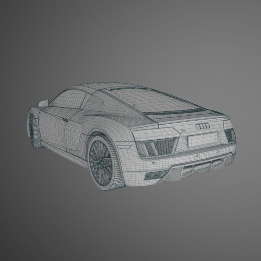 R8 Coupe 2018 royalty-free 3d model - Preview no. 10