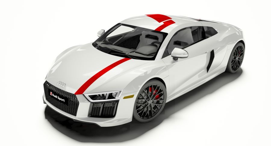 R8 Coupe 2018 royalty-free 3d model - Preview no. 4