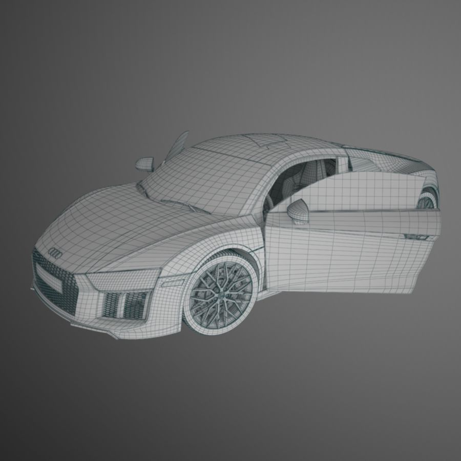 R8 Coupe 2018 royalty-free 3d model - Preview no. 11