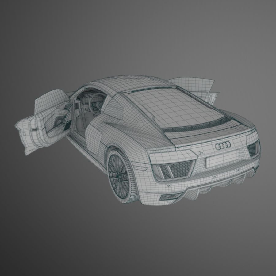 R8 Coupe 2018 royalty-free 3d model - Preview no. 12