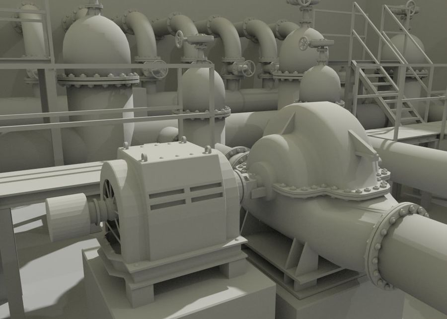 Industrial machines royalty-free 3d model - Preview no. 5