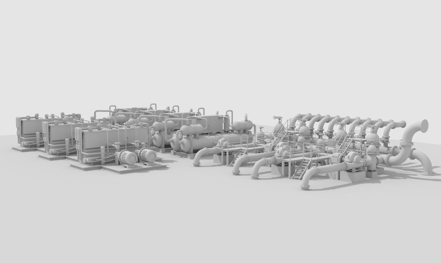 Industrial machines royalty-free 3d model - Preview no. 1