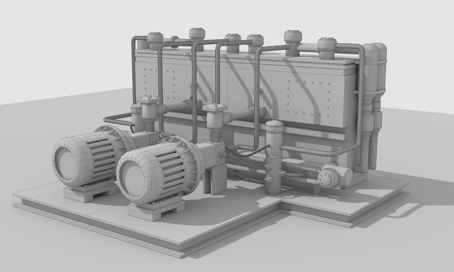 Industrial machines royalty-free 3d model - Preview no. 25