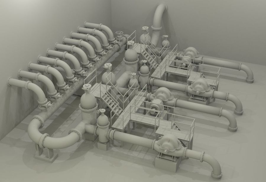 Industrial machines royalty-free 3d model - Preview no. 3