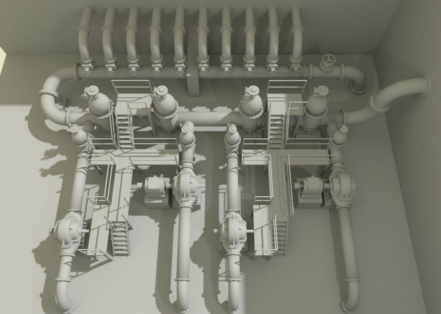 Industrial machines royalty-free 3d model - Preview no. 6