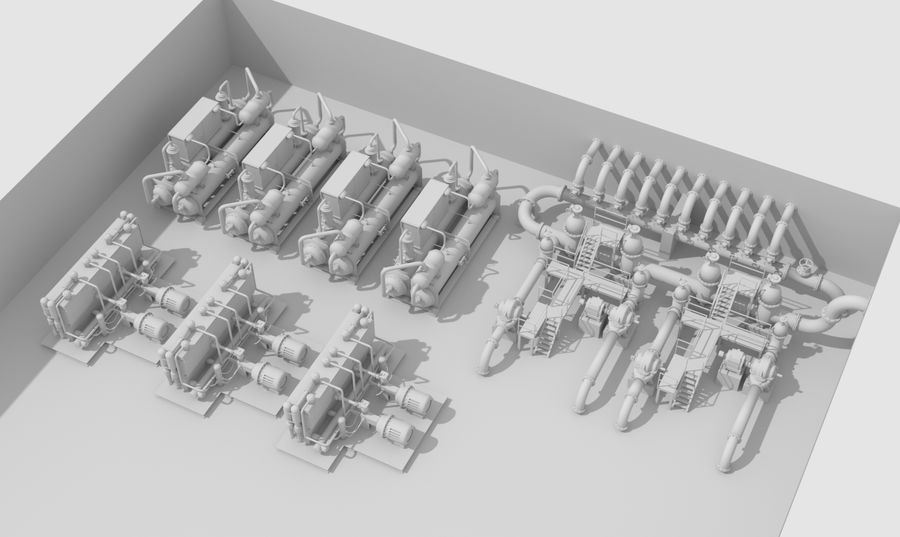 Industrial machines royalty-free 3d model - Preview no. 2