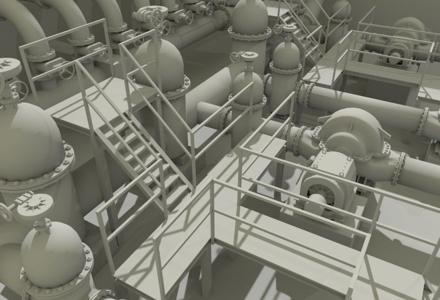 Industrial machines royalty-free 3d model - Preview no. 4