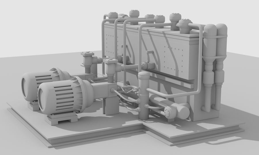Industrial machines royalty-free 3d model - Preview no. 24