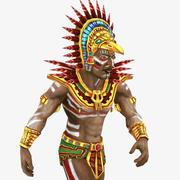rigged Mayan priest 3d model