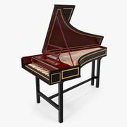 Classic Harpsichord Keyboard 3D 모델 3d model