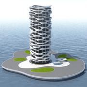 공상 과학 미래 건물 3d model