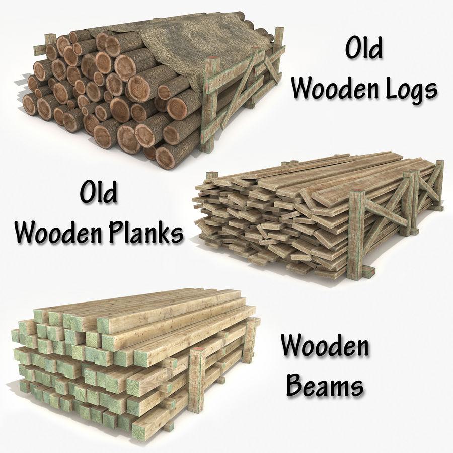 Kolekcja drewnianych bali, listew i belek royalty-free 3d model - Preview no. 1
