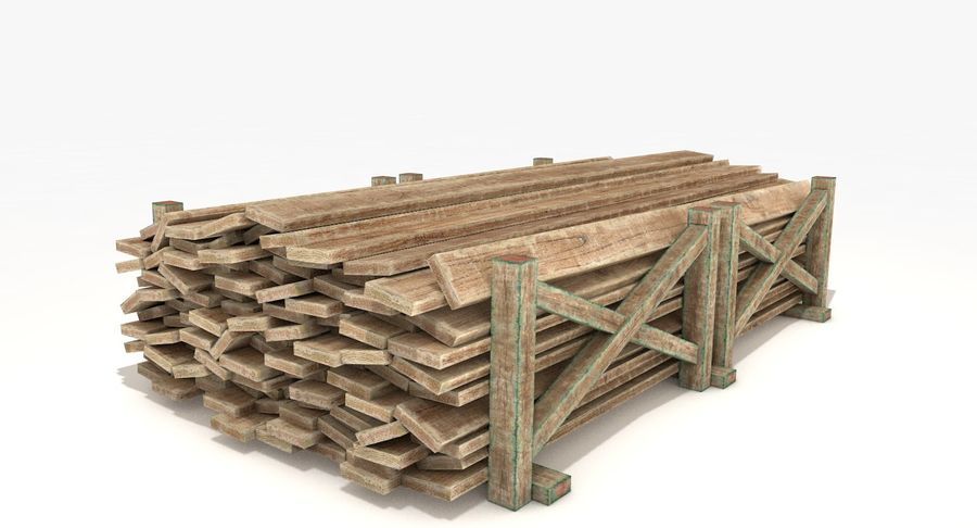 Kolekcja drewnianych bali, listew i belek royalty-free 3d model - Preview no. 13