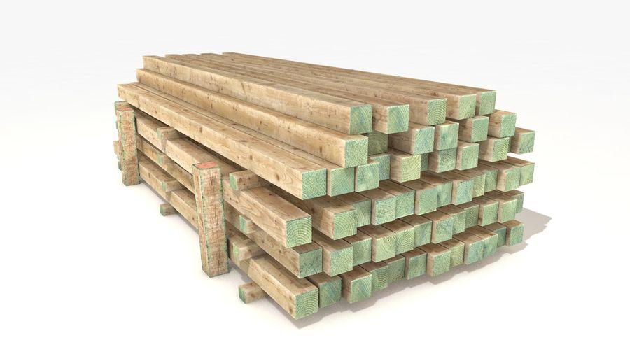 Kolekcja drewnianych bali, listew i belek royalty-free 3d model - Preview no. 19