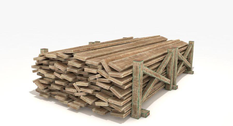 Kolekcja drewnianych bali, listew i belek royalty-free 3d model - Preview no. 10