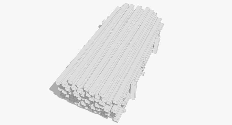 Kolekcja drewnianych bali, listew i belek royalty-free 3d model - Preview no. 23