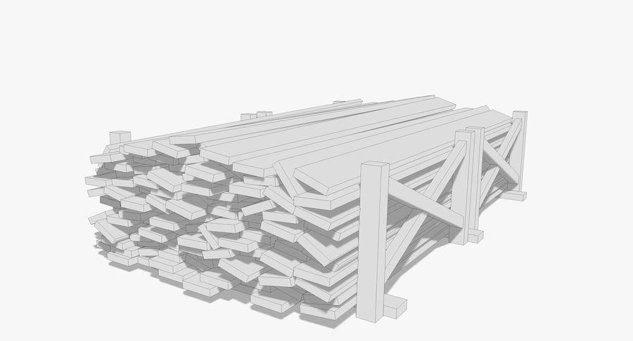 Kolekcja drewnianych bali, listew i belek royalty-free 3d model - Preview no. 15