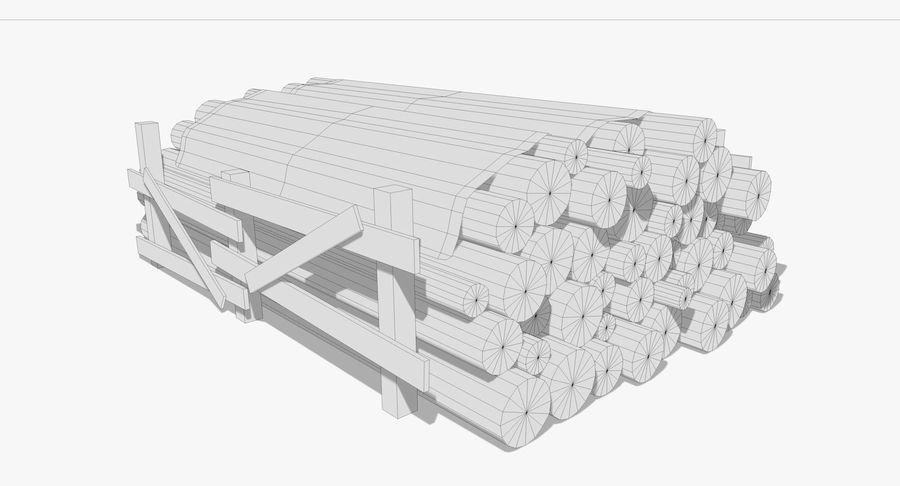 Kolekcja drewnianych bali, listew i belek royalty-free 3d model - Preview no. 8