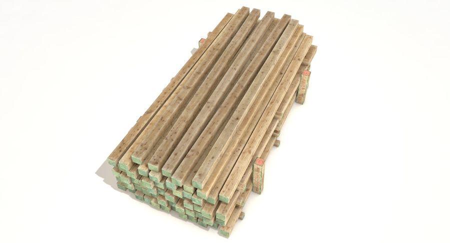 Kolekcja drewnianych bali, listew i belek royalty-free 3d model - Preview no. 21